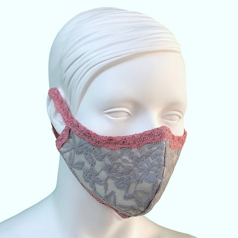 Lace & Silk Face Mask - Grey Mist & Vintage Rose