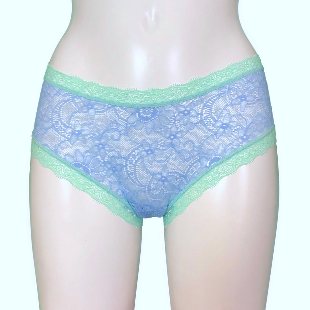 Super Soft Jacquard Lace Classic Knicker - Powder Blue & Spearmint