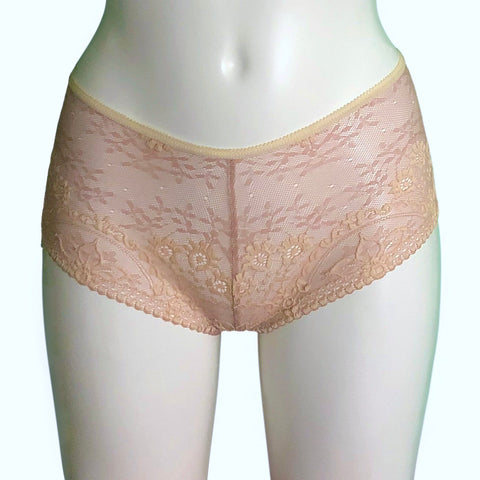 Textured Jacquard Lace Classic Knicker - Cameo & Cream