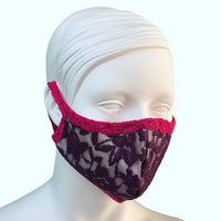 Lace & Silk Face Mask - Violet & Raspberry