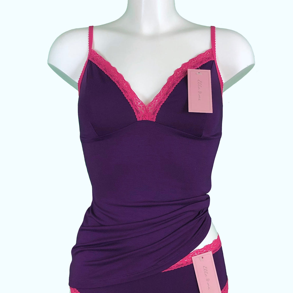 Soft Bamboo Jersey Strappy Cami Top - Violet & Raspberry