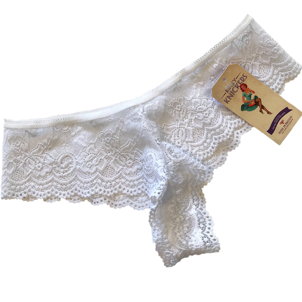 Jacquard Rose Lace Brazilian Knicker - White