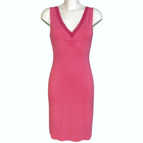 Bamboo Soft Knit Jersey Nightdress - Candy Pink & Raspberry