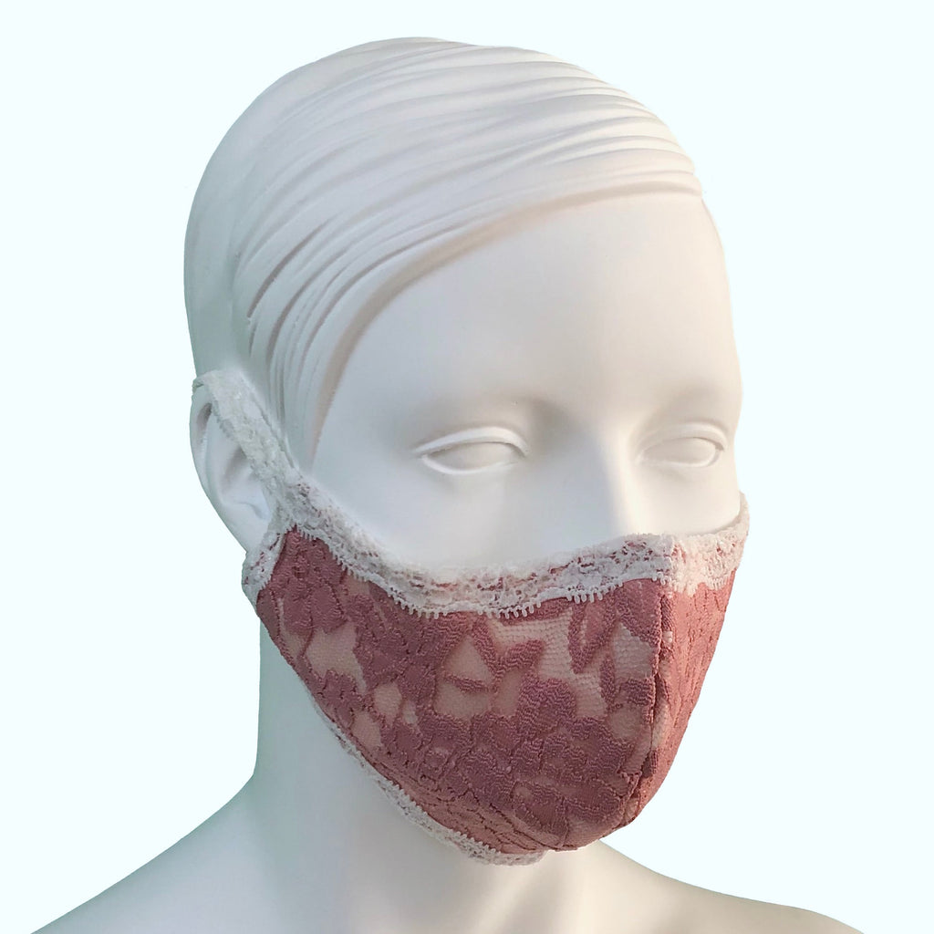 Lace & Silk Face Mask - Vintage Rose & Ivory