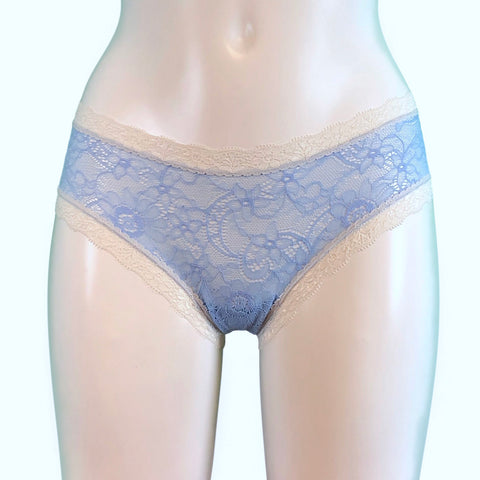 Super Soft Jacquard Lace Classic Knicker - Powder Blue & Ivory