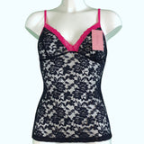 Signature Lace Strappy Cami Top - Navy & Raspberry