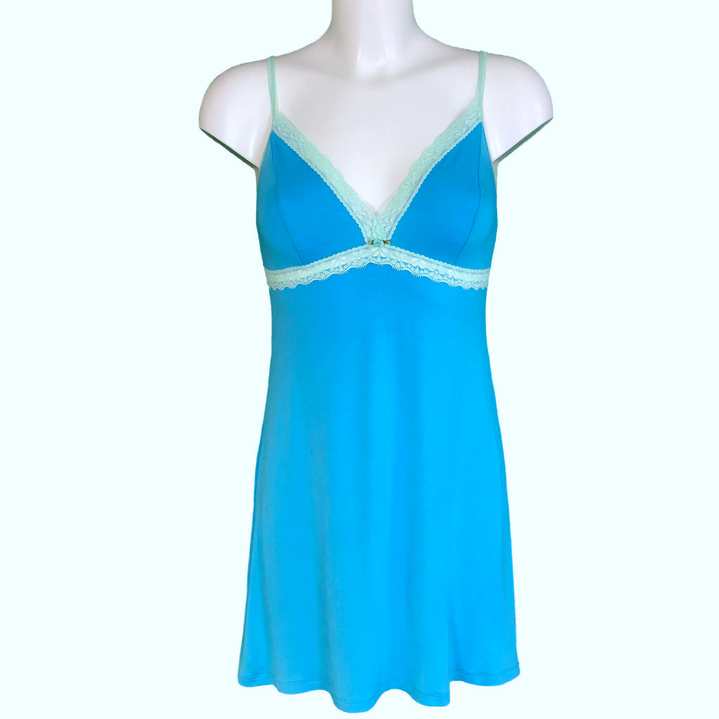 Bamboo Soft Knit Jersey Chemise - Turquoise & Spearmint
