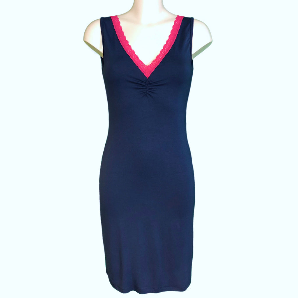 Bamboo Soft Knit Jersey Nightdress - Navy & Raspberry