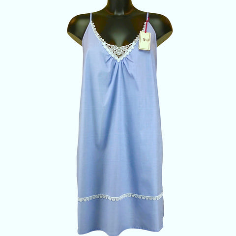 Chambray & Lace Light Weight Strappy Chemise