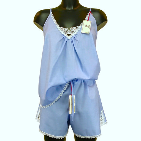 Chambray & Lace Light Weight Strappy Pyjama Shorts Set