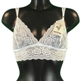 Jacquard Rose Lace Bralet - White