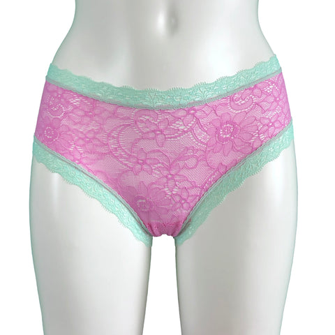 Super Soft Jacquard Lace Classic Knicker - Pink & Spearmint