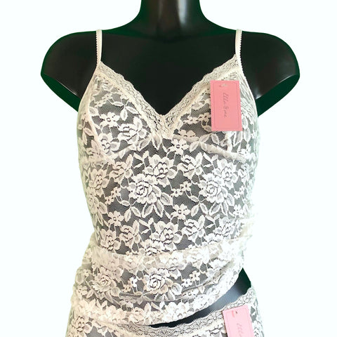 Signature Lace Strappy Cami Top - Ivory