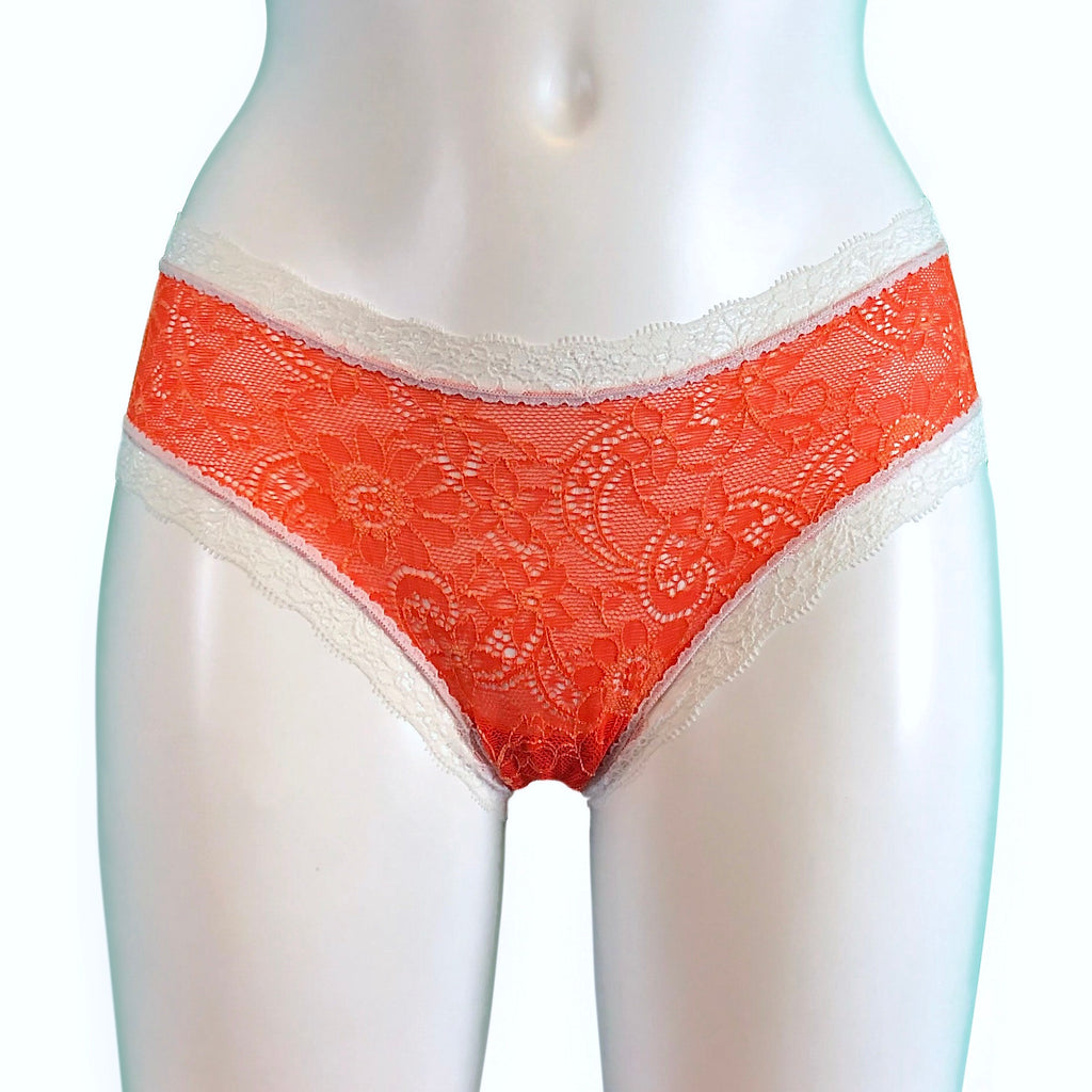 Super Soft Jacquard Lace Classic Knicker - Tangerine & Cream