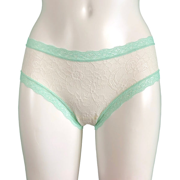 Super Soft Jacquard Lace Classic Fit Knicker - Ivory & Spearmint