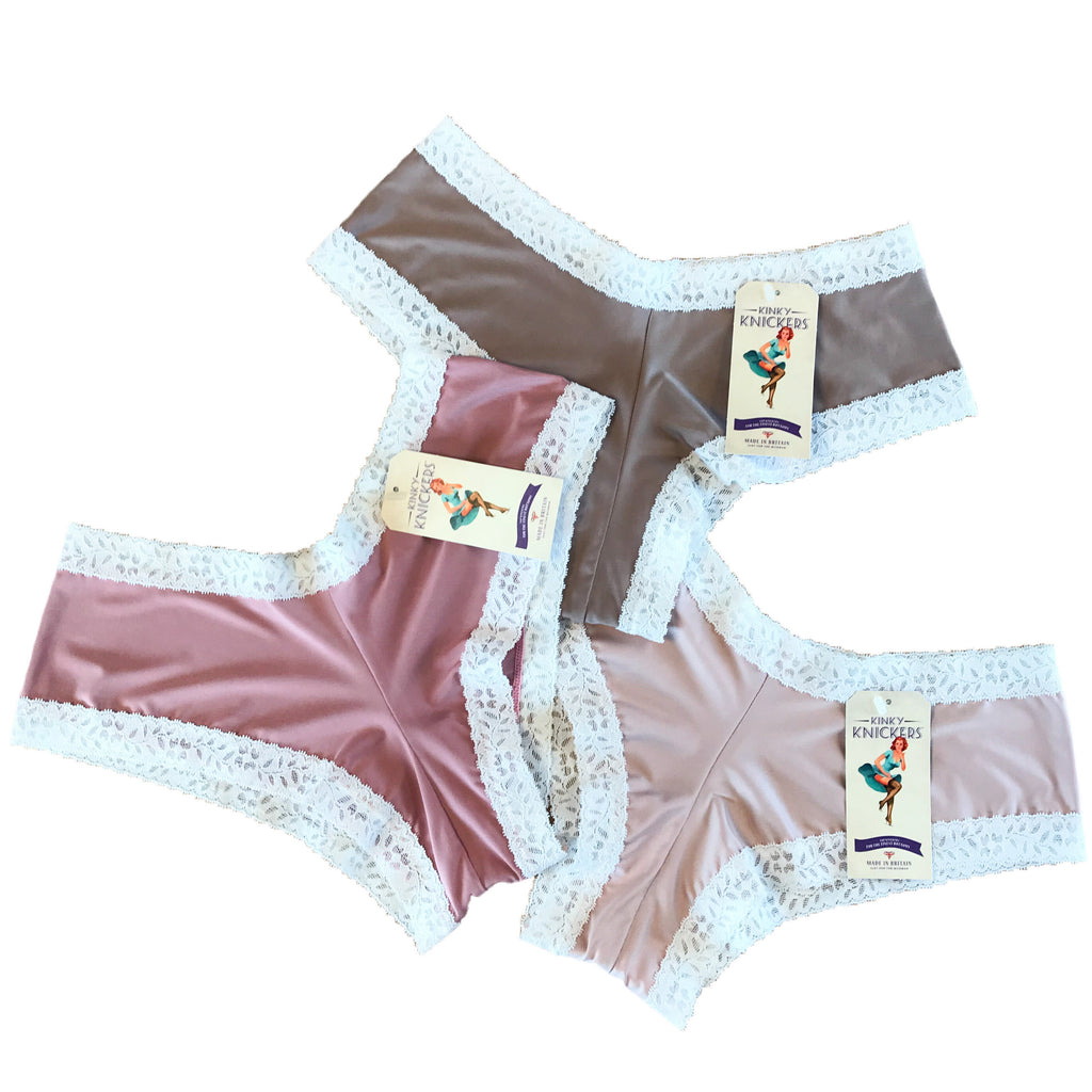 Kinky Knickers Butter Soft Brazilian Cut Knicker (Coffee & Cream 3 Pack)