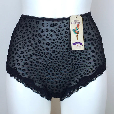 Kinky Knickers Black Mesh Velvet Cheetah Print High Waisted Knicker (Limited Edition)