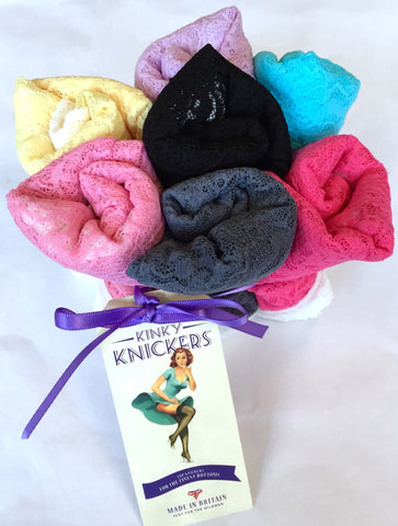 Kinky Knickers...'The Posy' Classic Lace Knicker 7 Day Pack