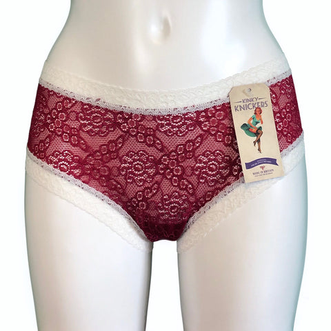 Super Soft Jacquard Lace Classic Knicker - Claret & Cream