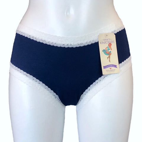 Bamboo Soft Knit Jersey Classic Fit Knicker - Navy & White