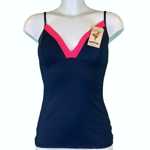 Bamboo Soft Knit Jersey Cami Top - Navy & Fuchsia