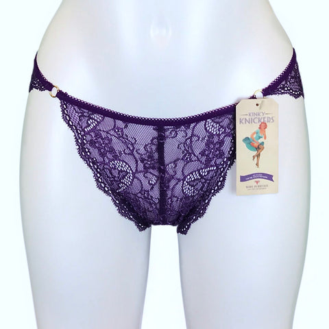 Passion Purple Jacquard Lace Tanga Brief
