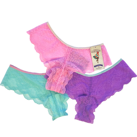 Jacquard Lace Brazilian Knicker 3 Pack - Strawberry, Lavender & Spearmint