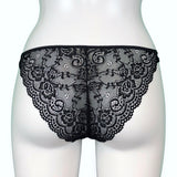 Jacquard Rose Lace Tanga - Black