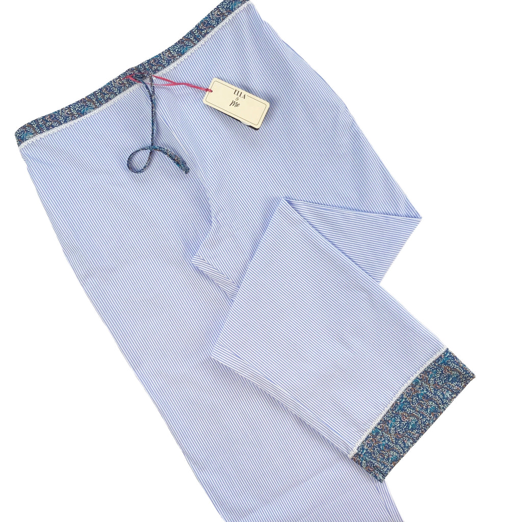 Cotton Liberty Print Trim Pyjama Trouser - Blue Stripe