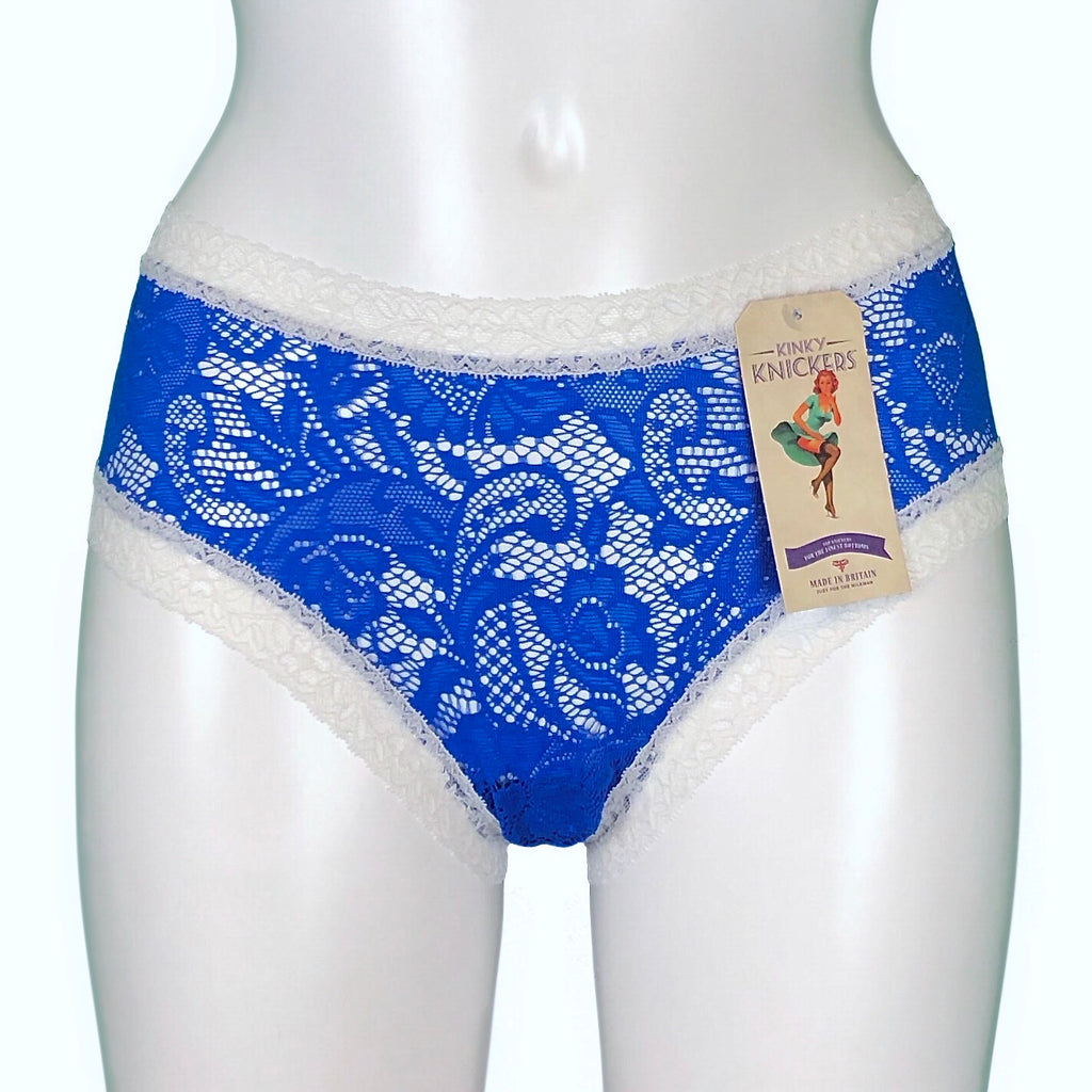 Signature Lace Classic Knicker - Cobalt & Ivory