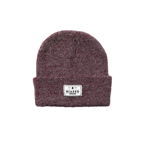 Patch Beanie - Burgundy Heather