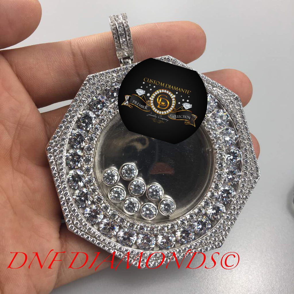 Custom floating diamonds hexagon a style custom made pendant custom ap sapphire floting diamond pendant aloadofball Images