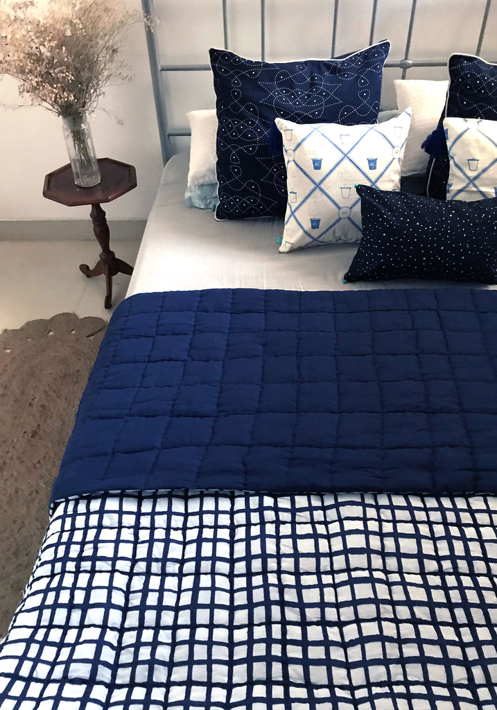 Blue Windowpane SINGLE Quilt