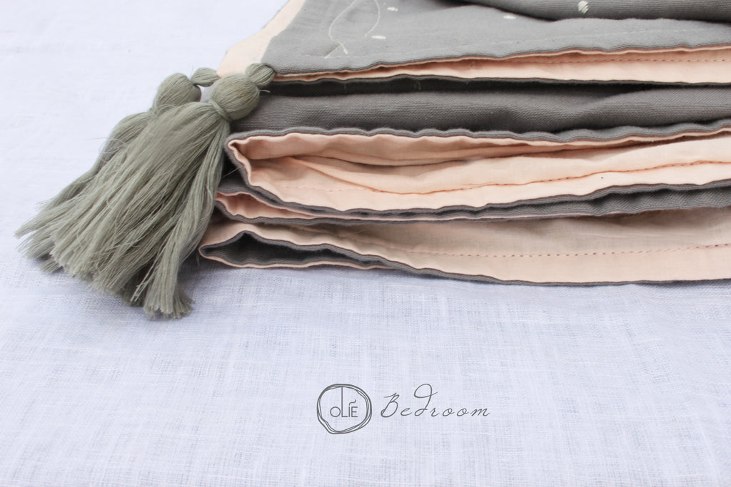 Grey + Blush Handwoven Bedcover