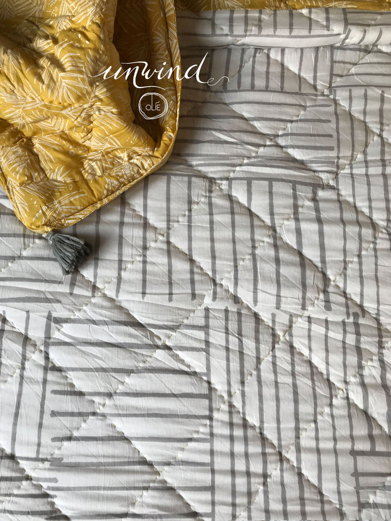 Forest floor +  Zebra Grey Double Quilt