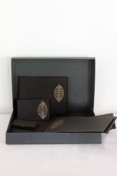 fc2c532ed86 Beautiful handmade stationery set in a box – black, gold autumn leaf.