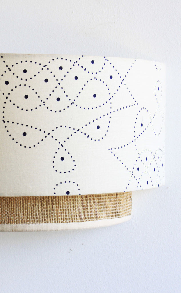 kolam constellation wall lamp / lighting. Entirely handmade in Bangalore India crafted from handprinted cottonsilk and banana fibre.