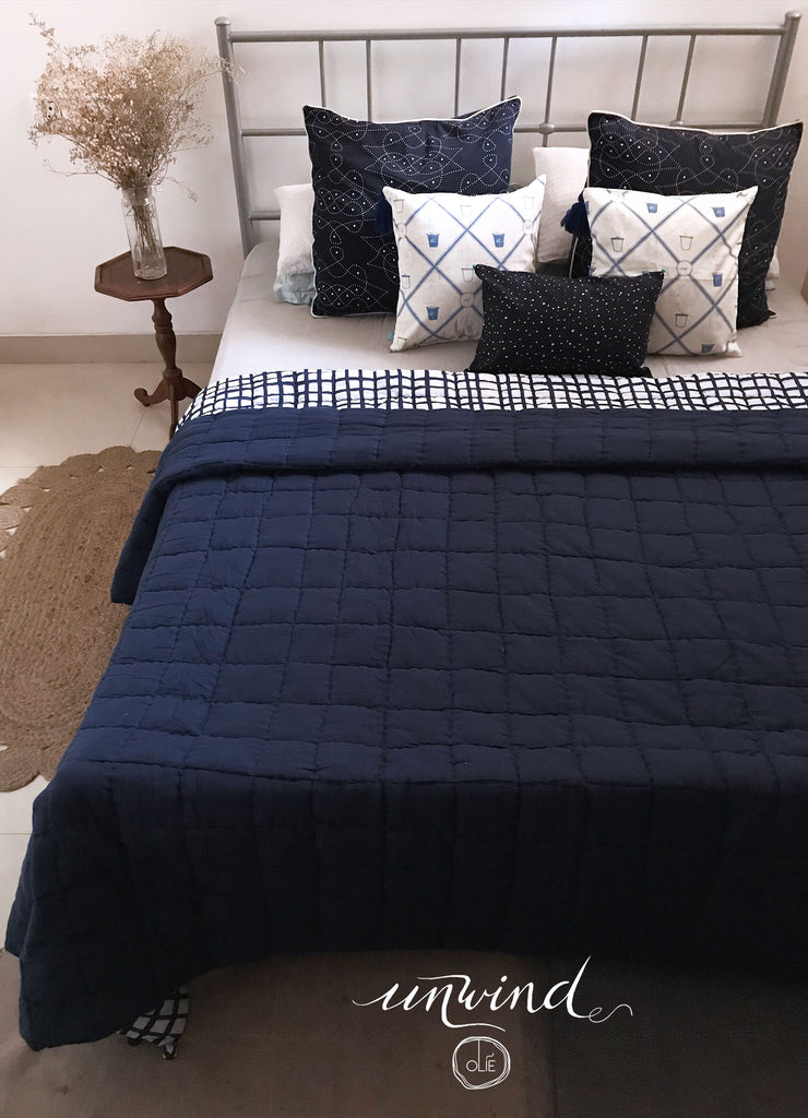 Blue Windowpane Double Quilt
