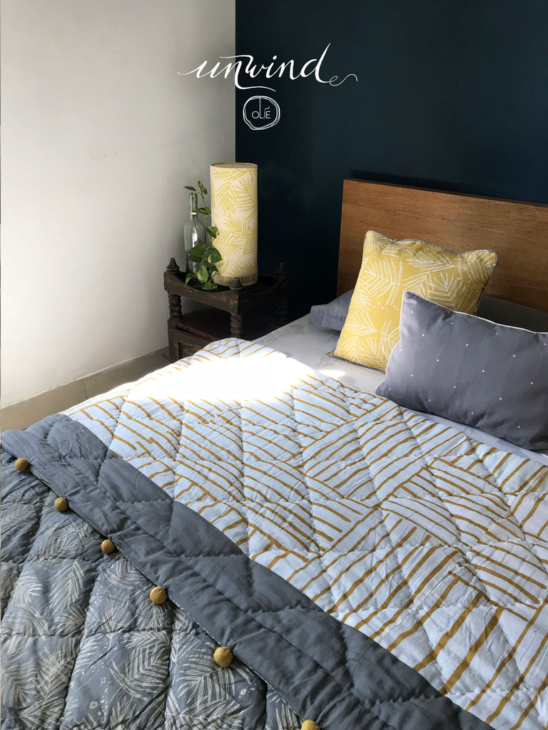 Forest floor +  Zebra Yellow Double Quilt