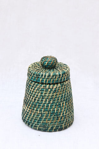 Blue Woven Jar with Lid