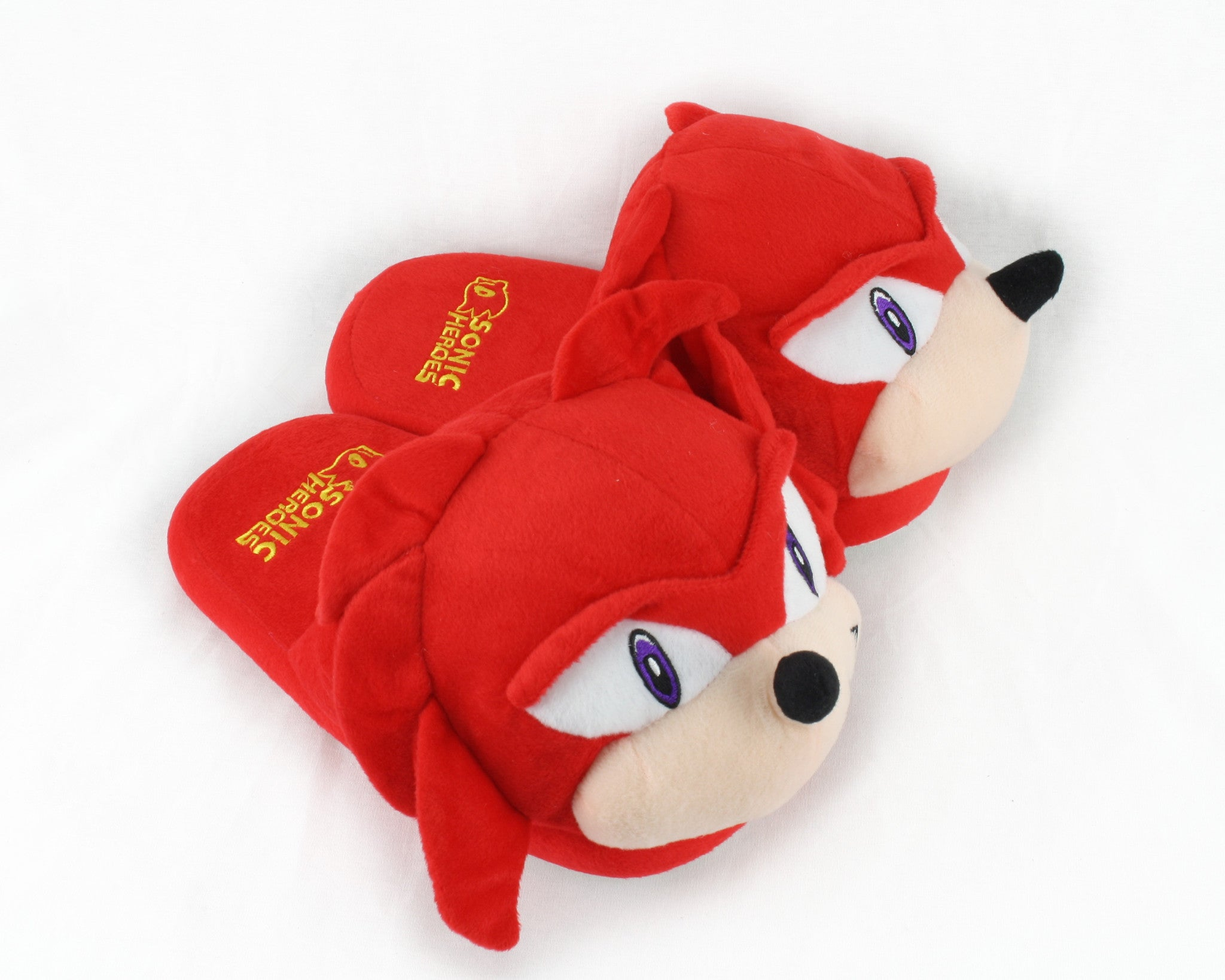 f37f5f184f00 Knuckles Sonic The Hedgehog Plush Slippers Adult