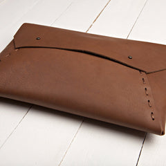 Riveting Clutch Brown Leather