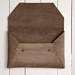 Riveting Clutch Soft Brown Suede