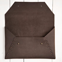 Riveting Clutch Cocoa Suede