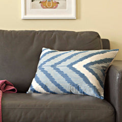 Navy Chevron Ikat Silk Pillow Cover