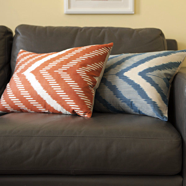 Shop Modern Burnt Orange Chevron Ikat Throw Pillow