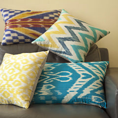 Turquoise Ikat Silk Pillow Cover