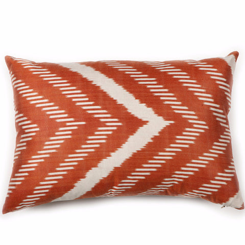Burnt Orange Ikat Silk Pillow Cover