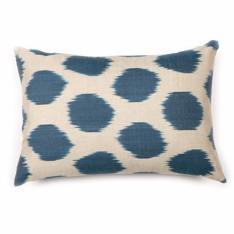 Indigo Polka Dot Ikat Silk Pillow Cover