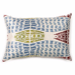 Falling Leaves Ikat Silk Pillow